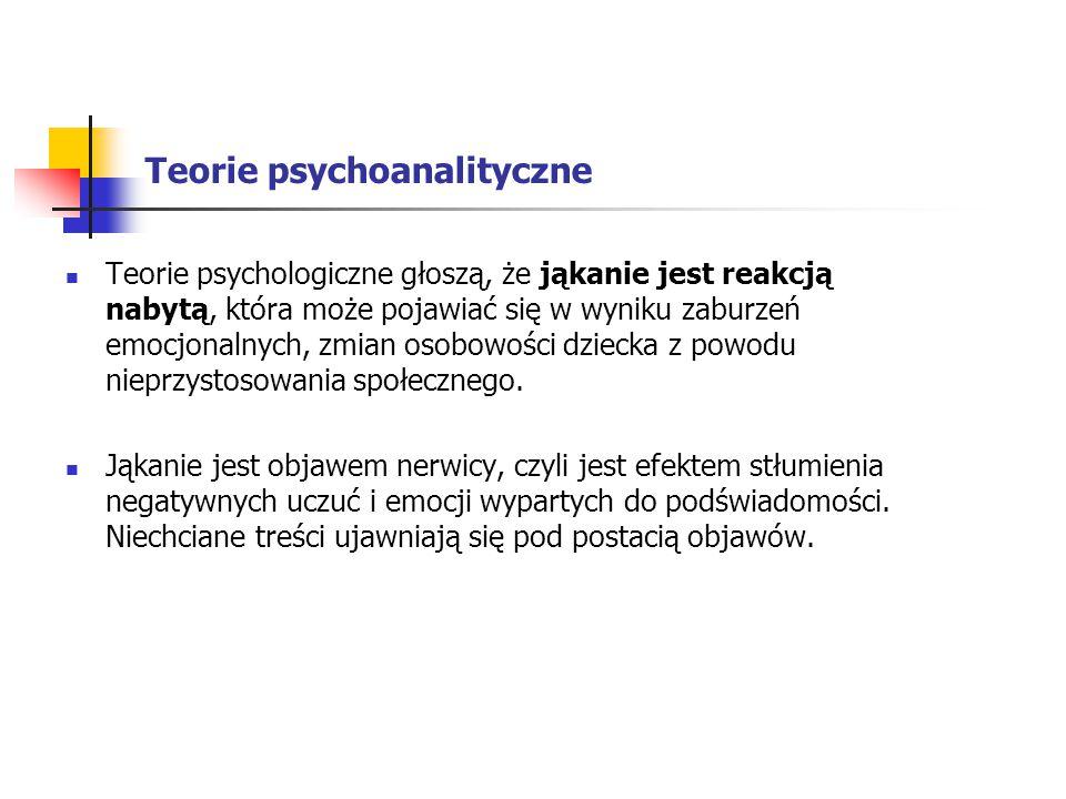 Teorie psychoanalityczne Teorie psychologiczne głoszą, że jąkanie jest reakcją nabytą, która może pojawiać się w wyniku zaburzeń emocjonalnych, zmian