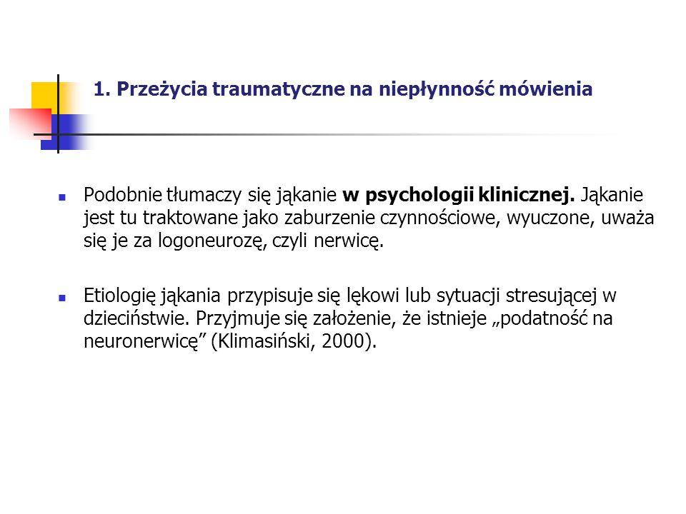 1. Przeżycia traumatyczne na niepłynność mówienia Podobnie tłumaczy się jąkanie w psychologii klinicznej. Jąkanie jest tu traktowane jako zaburzenie c