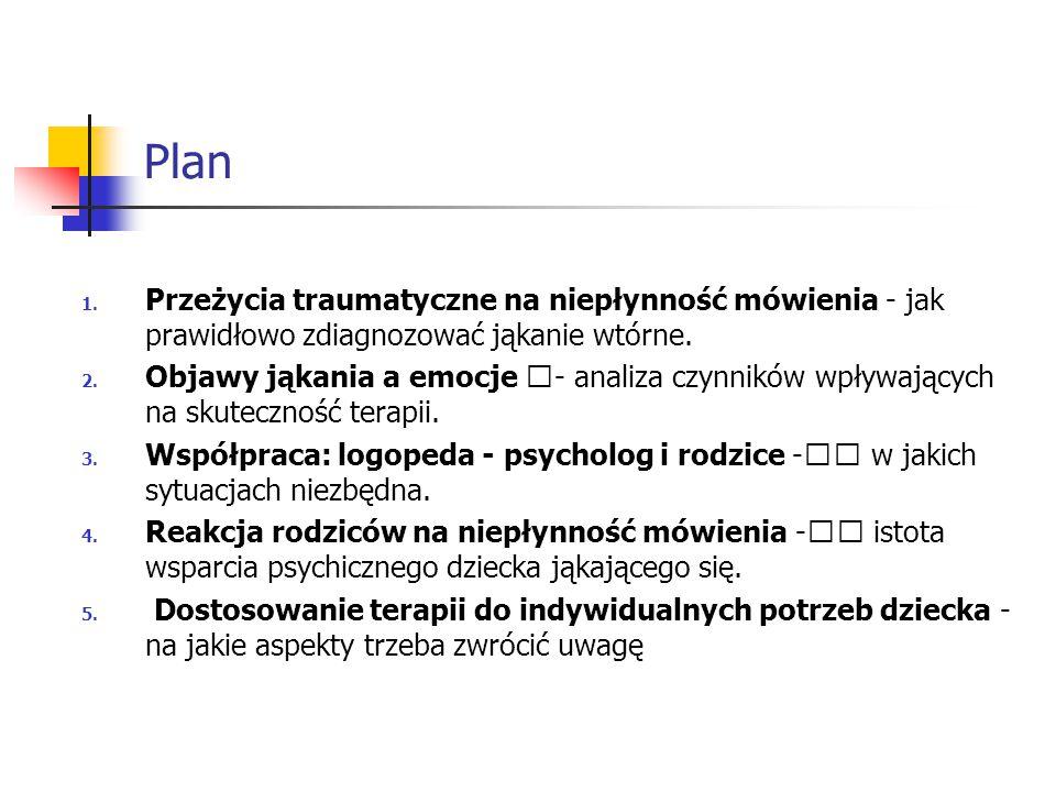 Plan 1. Przeżycia traumatyczne na niepłynność mówienia - jak prawidłowo zdiagnozować jąkanie wtórne. 2. Objawy jąkania a emocje €- analiza czynników w