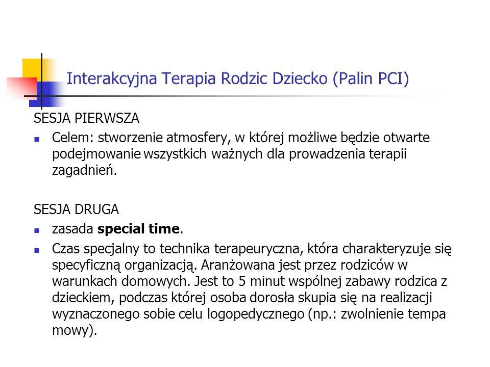 Interakcyjna Terapia Rodzic Dziecko (Palin PCI) SESJA PIERWSZA Celem: stworzenie atmosfery, w której możliwe będzie otwarte podejmowanie wszystkich wa