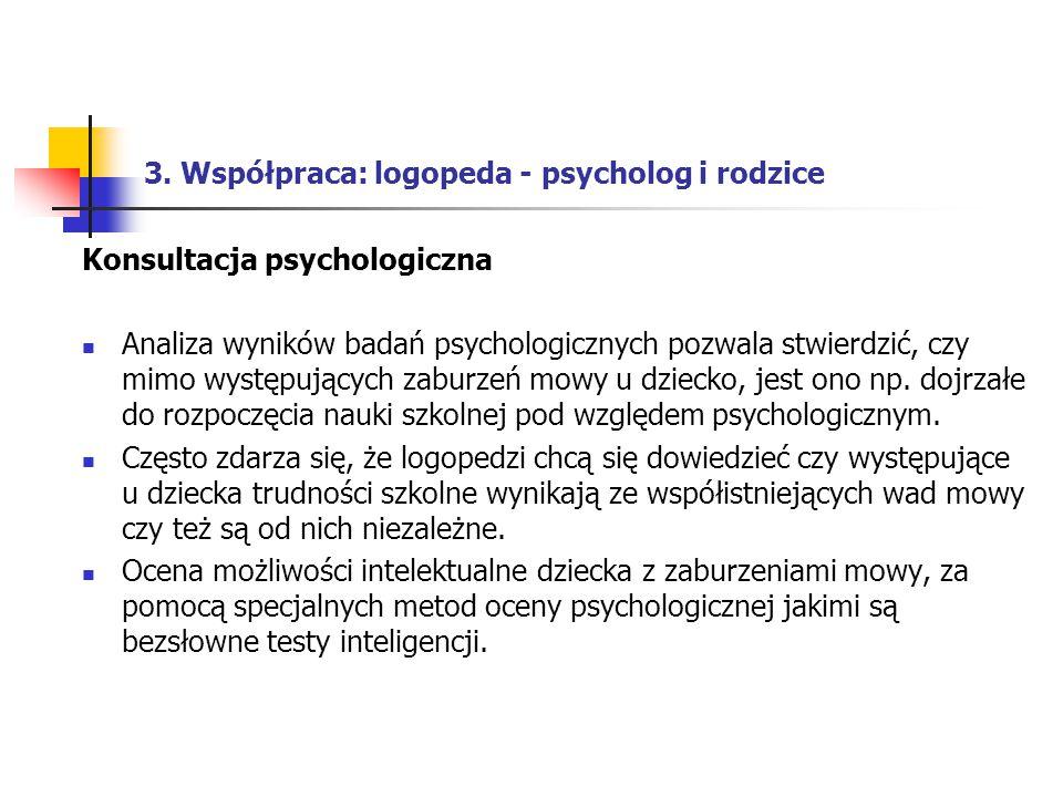 3. Współpraca: logopeda - psycholog i rodzice Konsultacja psychologiczna Analiza wyników badań psychologicznych pozwala stwierdzić, czy mimo występują