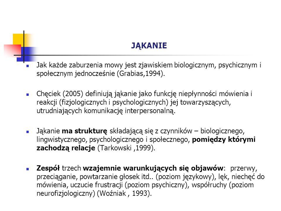JĄKANIE Jak każde zaburzenia mowy jest zjawiskiem biologicznym, psychicznym i społecznym jednocześnie (Grabias,1994). Chęciek (2005) definiują jąkanie