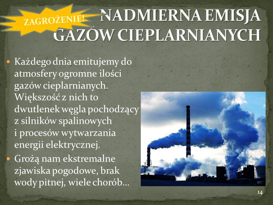 Każdego dnia emitujemy do atmosfery ogromne ilości gazów cieplarnianych. Większość z nich to dwutlenek węgla pochodzący z silników spalinowych i proce