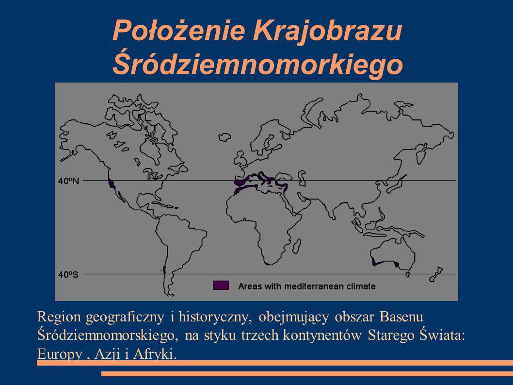 Położenie Krajobrazu Śródziemnomorkiego Region geograficzny i historyczny, obejmujący obszar Basenu Śródziemnomorskiego, na styku trzech kontynentów S