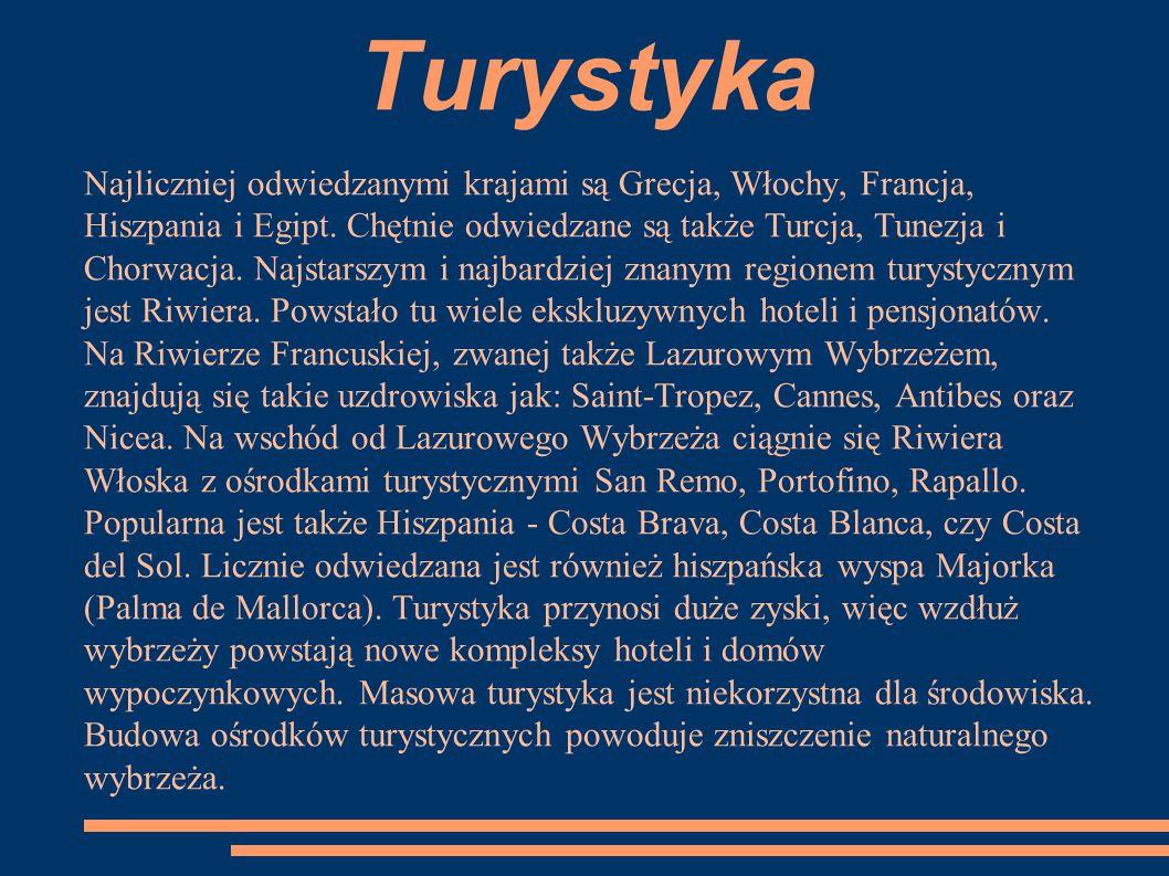 Turystyka Najliczniej odwiedzanymi krajami są Grecja, Włochy, Francja, Hiszpania i Egipt. Chętnie odwiedzane są także Turcja, Tunezja i Chorwacja. Naj