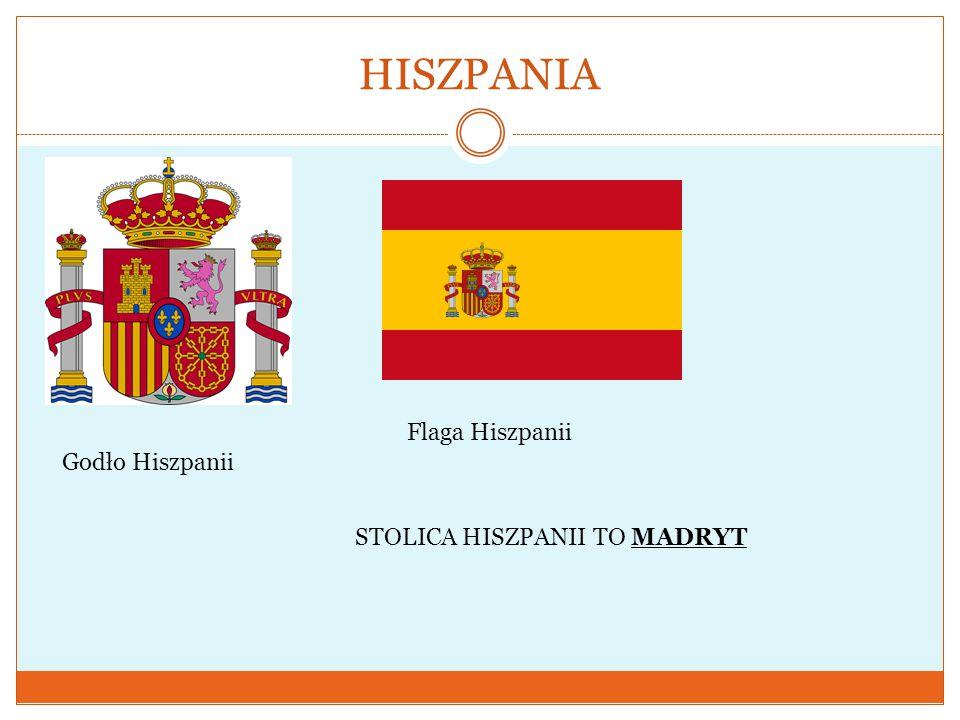 HISZPANIA Godło Hiszpanii Flaga Hiszpanii STOLICA HISZPANII TO MADRYT