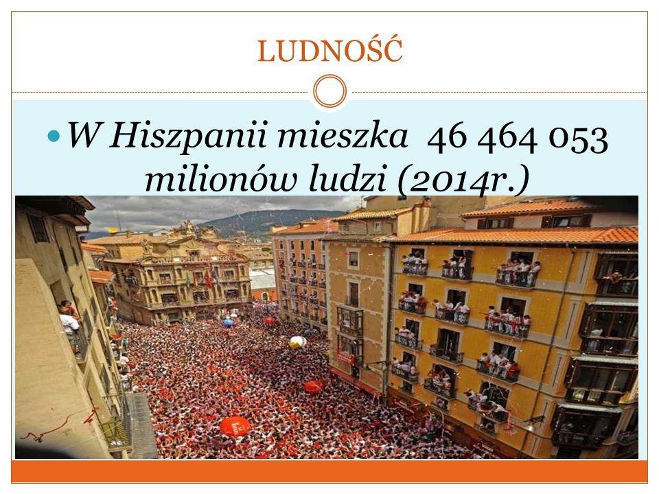 LUDNOŚĆ W Hiszpanii mieszka 46 464 053 milionów ludzi (2014r.)