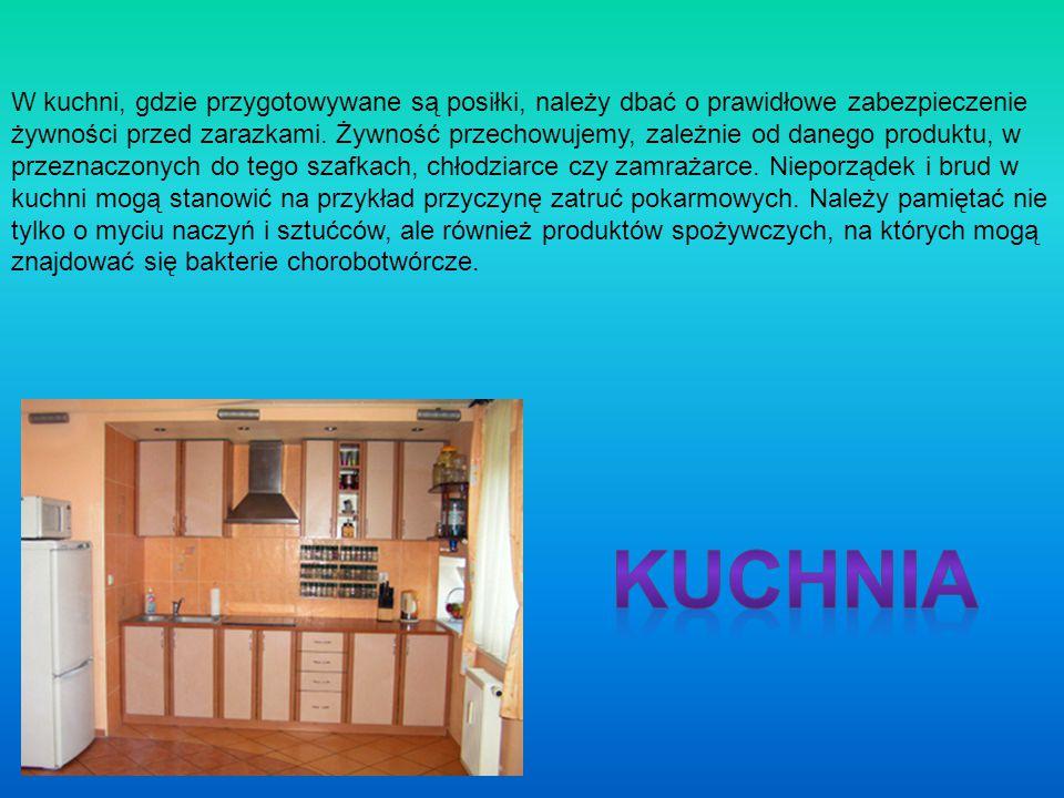 W kuchni, gdzie przygotowywane są posiłki, należy dbać o prawidłowe zabezpieczenie żywności przed zarazkami. Żywność przechowujemy, zależnie od danego