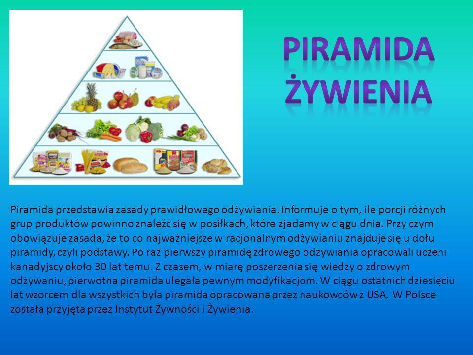 Piramida przedstawia zasady prawidłowego odżywiania. Informuje o tym, ile porcji różnych grup produktów powinno znaleźć się w posiłkach, które zjadamy