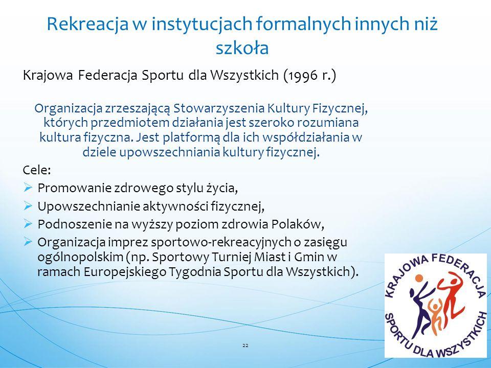 Krajowa Federacja Sportu dla Wszystkich (1996 r.) Organizacja zrzeszającą Stowarzyszenia Kultury Fizycznej, których przedmiotem działania jest szeroko