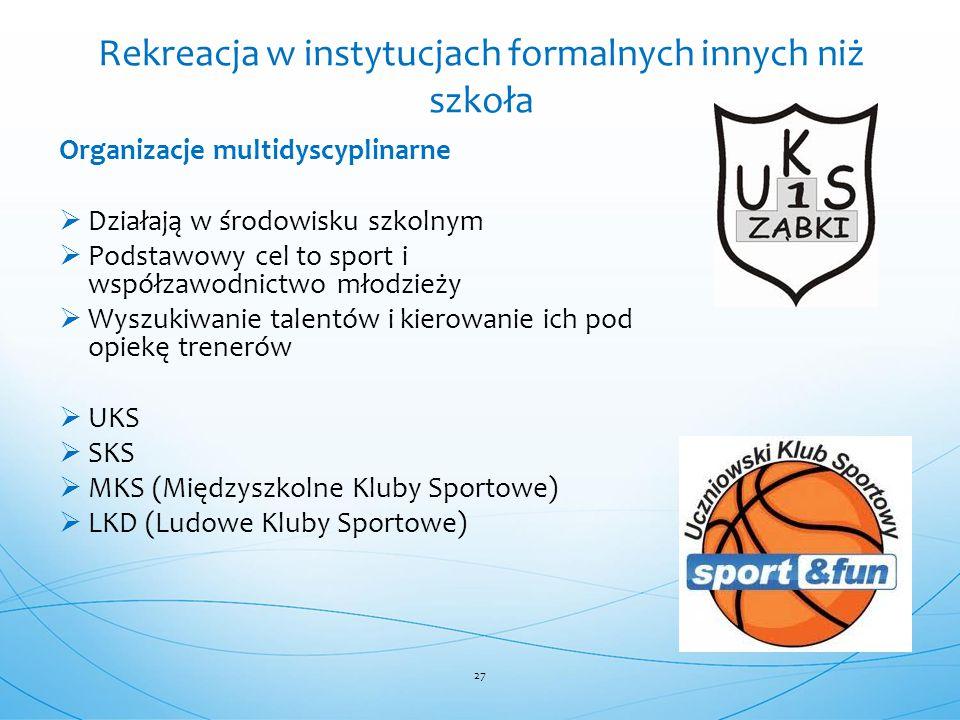 Organizacje multidyscyplinarne  Działają w środowisku szkolnym  Podstawowy cel to sport i współzawodnictwo młodzieży  Wyszukiwanie talentów i kiero