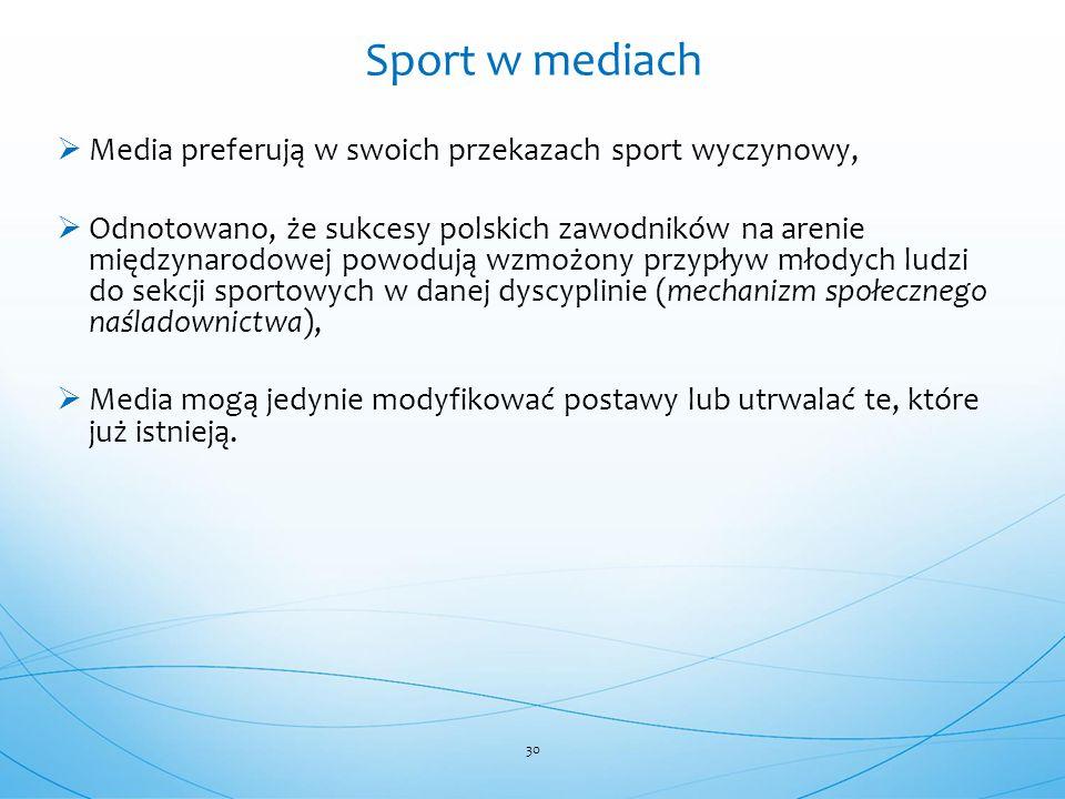  Media preferują w swoich przekazach sport wyczynowy,  Odnotowano, że sukcesy polskich zawodników na arenie międzynarodowej powodują wzmożony przypł