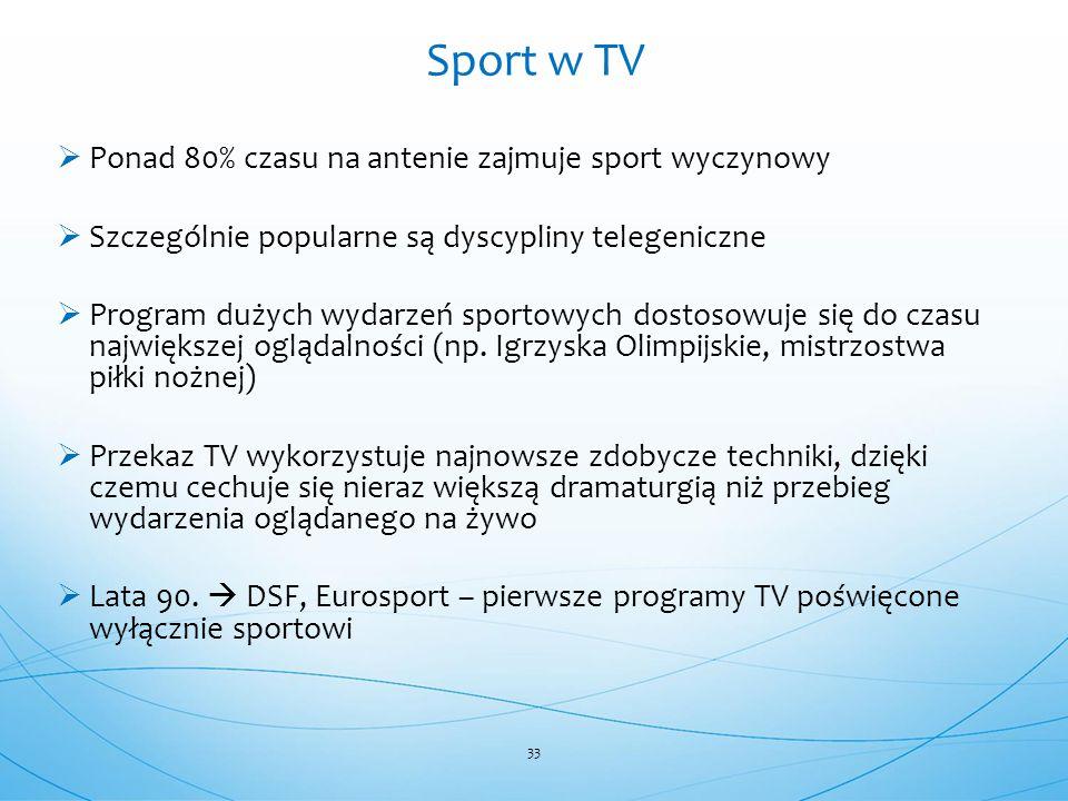  Ponad 80% czasu na antenie zajmuje sport wyczynowy  Szczególnie popularne są dyscypliny telegeniczne  Program dużych wydarzeń sportowych dostosowu