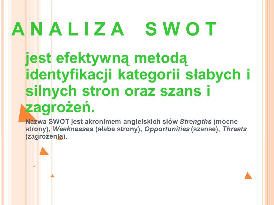 A N A L I Z A S W O T jest efektywną metodą identyfikacji kategorii słabych i silnych stron oraz szans i zagrożeń. Nazwa SWOT jest akronimem angielski