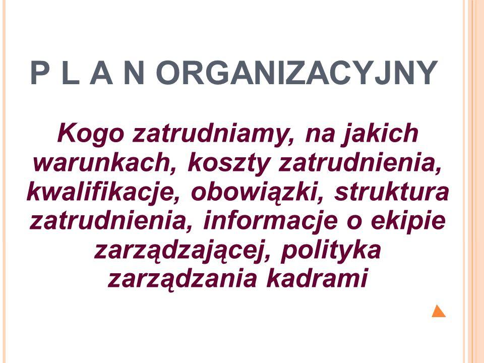P L A N ORGANIZACYJNY Kogo zatrudniamy, na jakich warunkach, koszty zatrudnienia, kwalifikacje, obowiązki, struktura zatrudnienia, informacje o ekipie