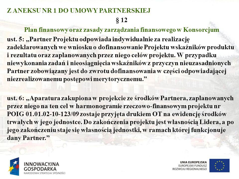 Z ANEKSU NR 1 DO UMOWY PARTNERSKIEJ § 12 Plan finansowy oraz zasady zarządzania finansowego w Konsorcjum ust.