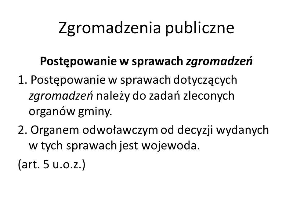 Zgromadzenia publiczne Postępowanie w sprawach zgromadzeń 1. Postępowanie w sprawach dotyczących zgromadzeń należy do zadań zleconych organów gminy. 2