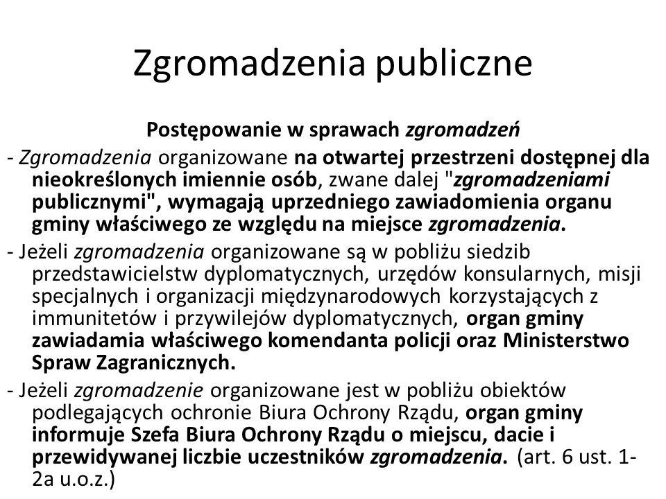 Zgromadzenia publiczne Postępowanie w sprawach zgromadzeń - Zgromadzenia organizowane na otwartej przestrzeni dostępnej dla nieokreślonych imiennie os