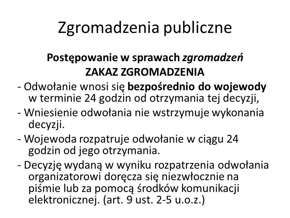 Zgromadzenia publiczne Postępowanie w sprawach zgromadzeń ZAKAZ ZGROMADZENIA - Odwołanie wnosi się bezpośrednio do wojewody w terminie 24 godzin od ot
