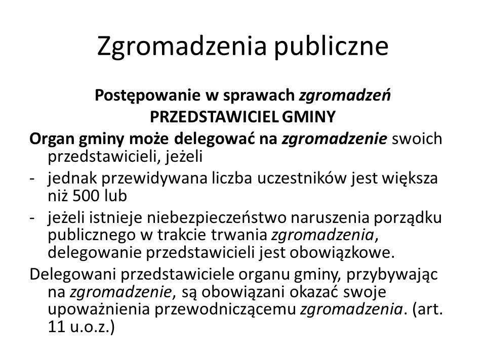 Zgromadzenia publiczne Postępowanie w sprawach zgromadzeń PRZEDSTAWICIEL GMINY Organ gminy może delegować na zgromadzenie swoich przedstawicieli, jeże