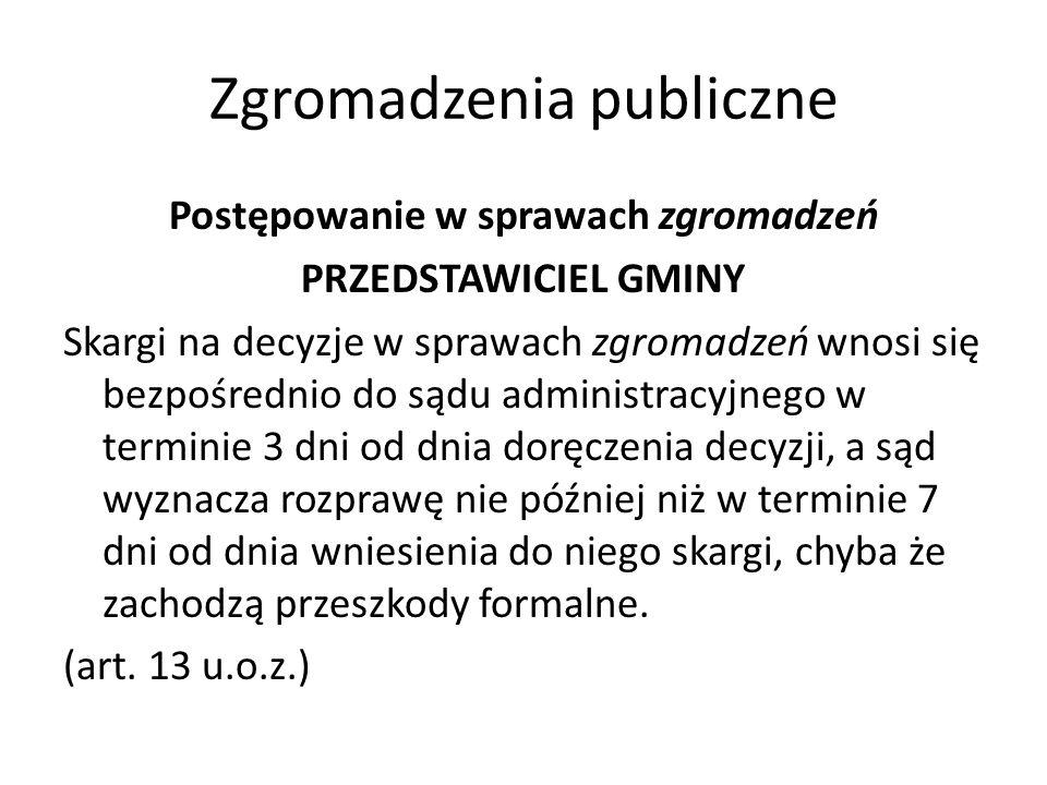 Zgromadzenia publiczne Postępowanie w sprawach zgromadzeń PRZEDSTAWICIEL GMINY Skargi na decyzje w sprawach zgromadzeń wnosi się bezpośrednio do sądu