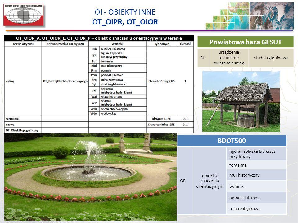 OI - OBIEKTY INNE OT_OIPR, OT_OIOR BDOT500 OB obiekt o znaczeniu orientacyjnym figura kapliczka lub krzyż przydrożny fontanna mur historyczny pomnik p