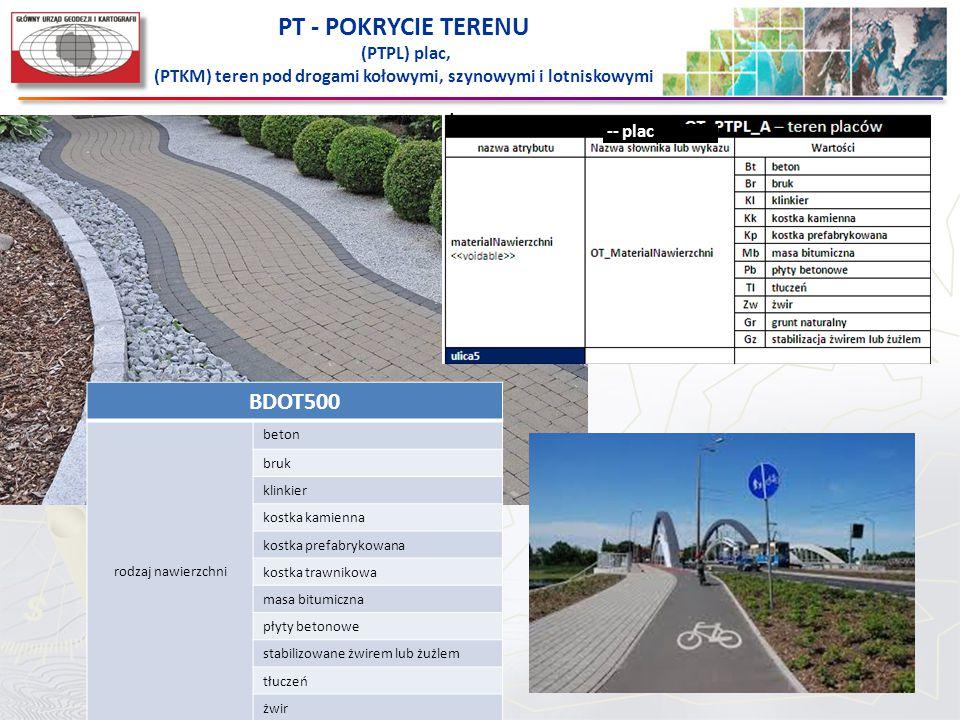 PT - POKRYCIE TERENU (PTPL) plac, (PTKM) teren pod drogami kołowymi, szynowymi i lotniskowymi -- plac BDOT500 rodzaj nawierzchni beton bruk klinkier k