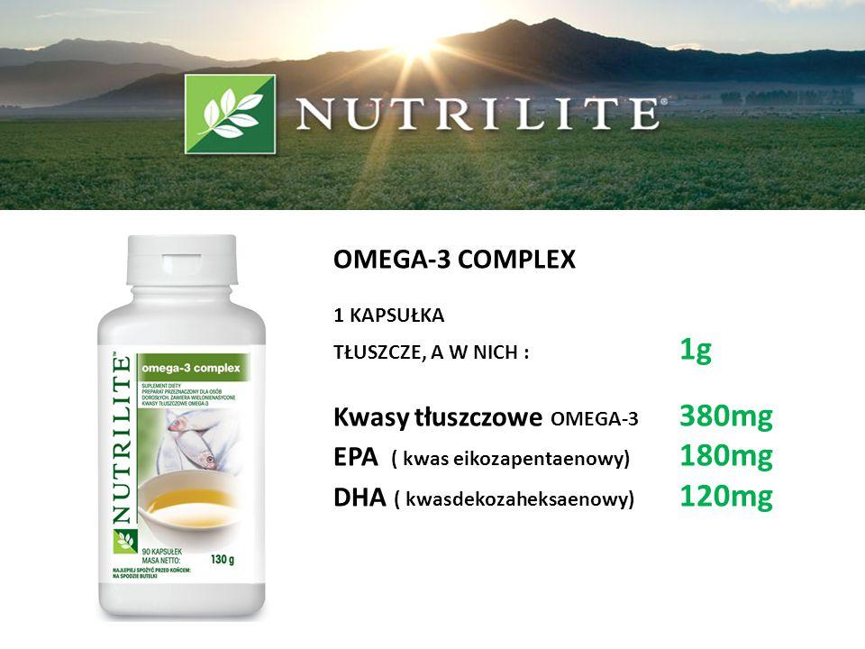 OMEGA-3 COMPLEX 1 KAPSUŁKA TŁUSZCZE, A W NICH : 1g Kwasy tłuszczowe OMEGA-3 380mg EPA ( kwas eikozapentaenowy) 180mg DHA ( kwasdekozaheksaenowy) 120mg