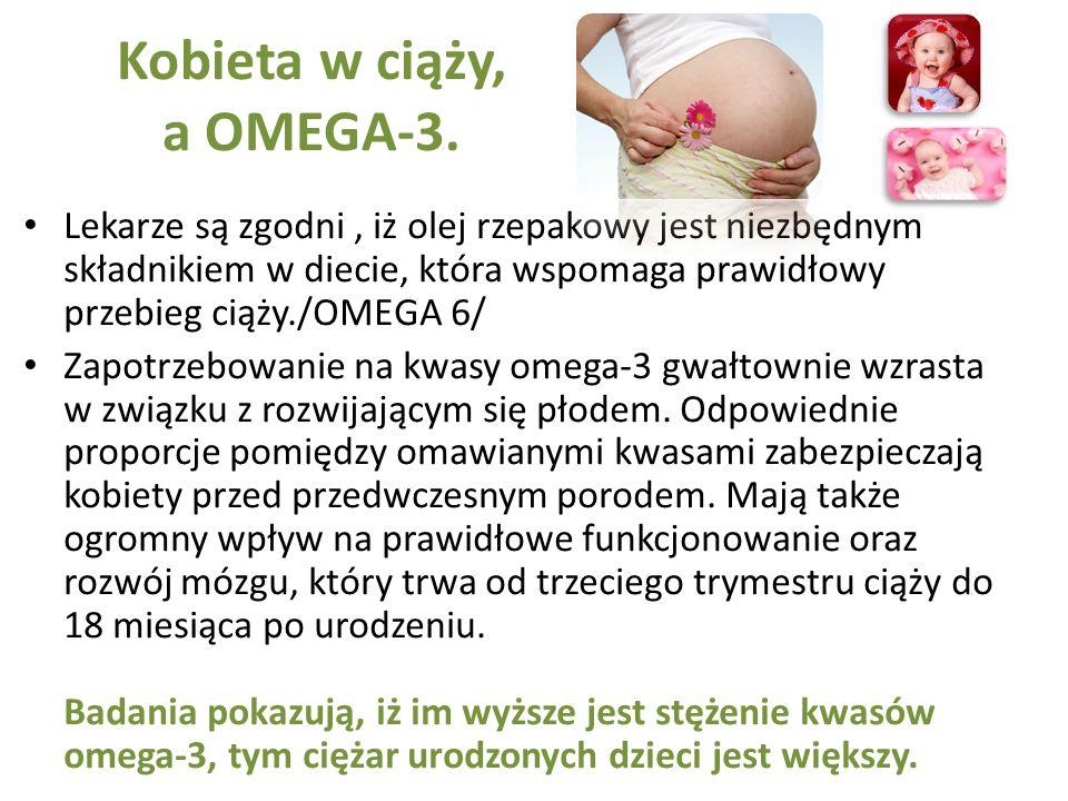 Kobieta w ciąży, a OMEGA-3. Lekarze są zgodni, iż olej rzepakowy jest niezbędnym składnikiem w diecie, która wspomaga prawidłowy przebieg ciąży./OMEGA