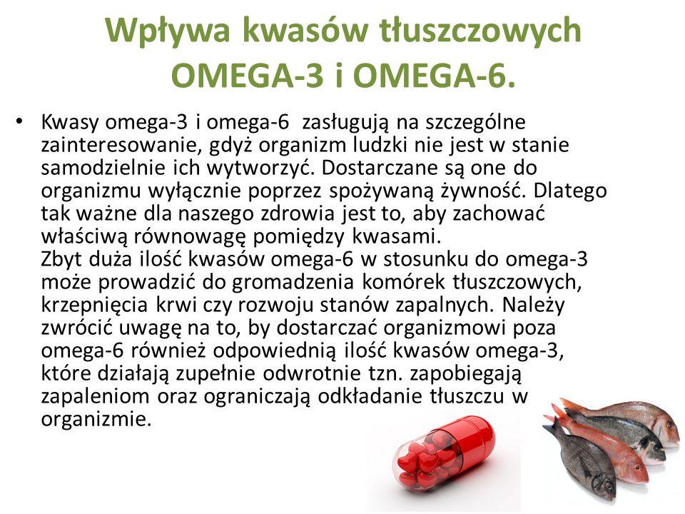 Wpływa kwasów tłuszczowych OMEGA-3 i OMEGA-6. Kwasy omega-3 i omega-6 zasługują na szczególne zainteresowanie, gdyż organizm ludzki nie jest w stanie