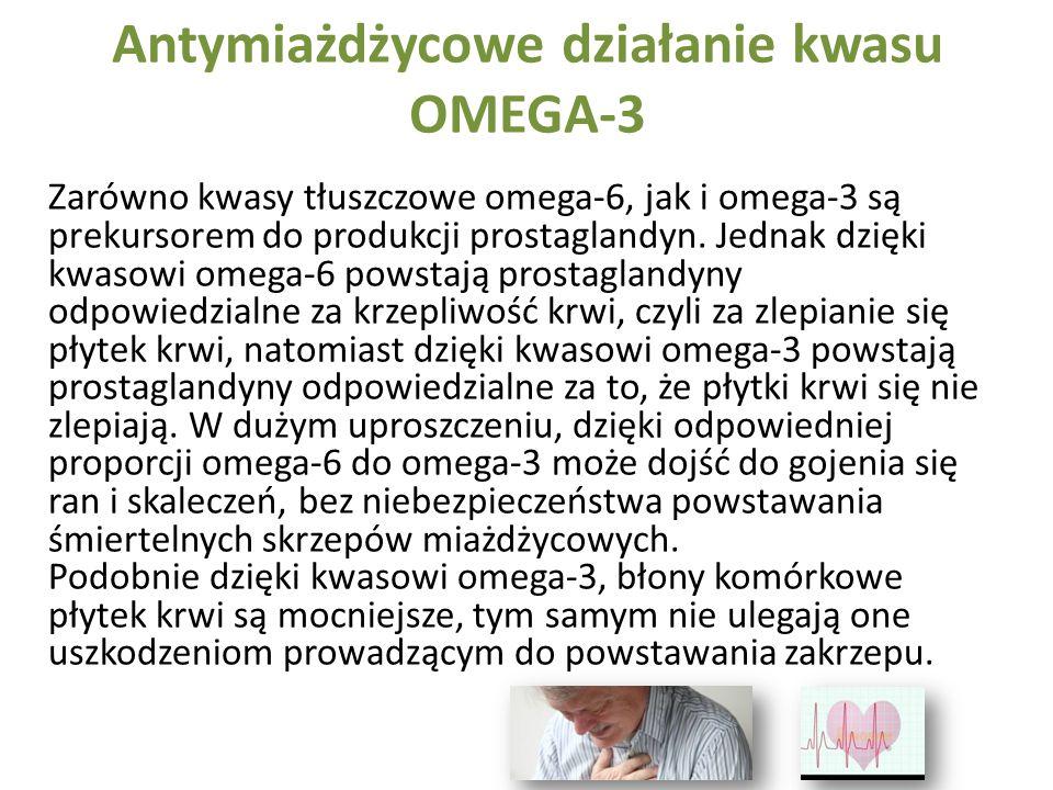 Antymiażdżycowe działanie kwasu OMEGA-3 Zarówno kwasy tłuszczowe omega-6, jak i omega-3 są prekursorem do produkcji prostaglandyn. Jednak dzięki kwaso