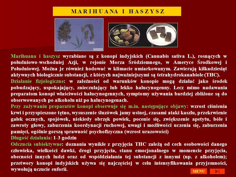 Marihuana i haszysz wyrabiane są z konopi indyjskich (Cannabis sativa L.), rosnących w południowo-wschodniej Azji, w rejonie Morza Śródziemnego, w Ameryce Środkowej i Południowej.