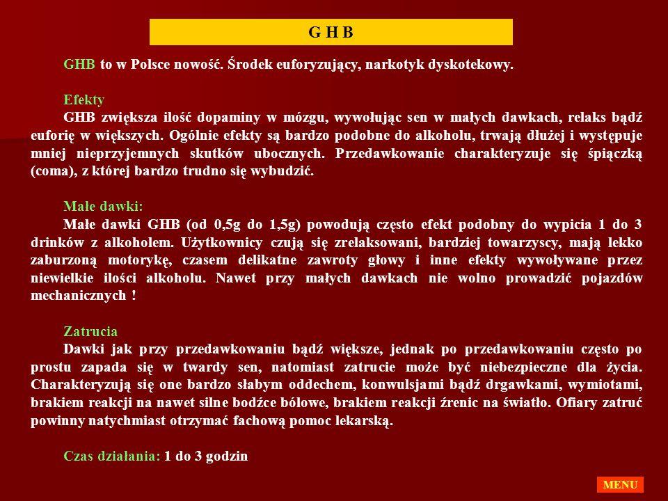 GHB to w Polsce nowość. Środek euforyzujący, narkotyk dyskotekowy. Efekty GHB zwiększa ilość dopaminy w mózgu, wywołując sen w małych dawkach, relaks