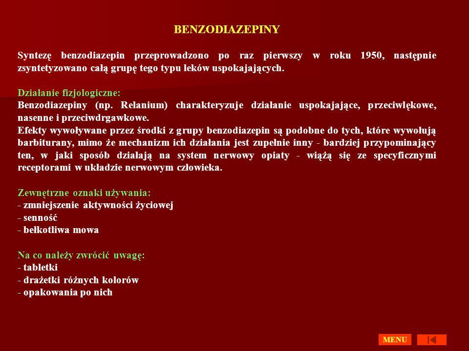 BENZODIAZEPINY Syntezę benzodiazepin przeprowadzono po raz pierwszy w roku 1950, następnie zsyntetyzowano całą grupę tego typu leków uspokajających.