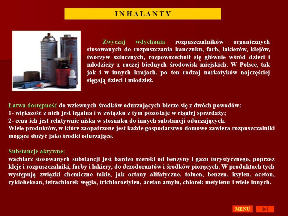 I N H A L A N T Y Zwyczaj wdychania rozpuszczalników organicznych stosowanych do rozpuszczania kauczuku, farb, lakierów, klejów, tworzyw sztucznych, r