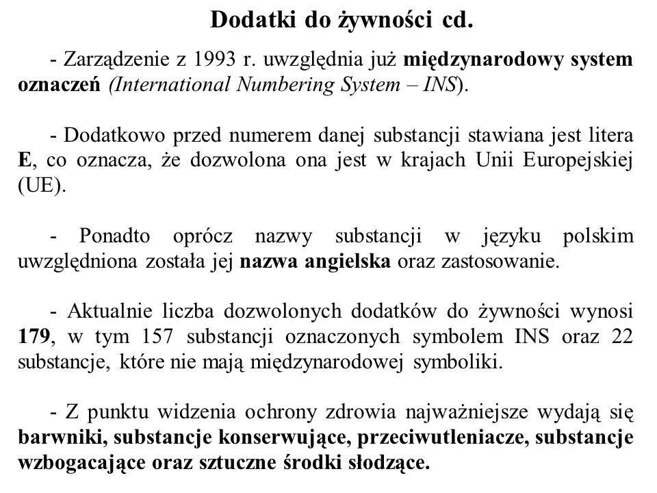 Dodatki do żywności cd. - Zarządzenie z 1993 r. uwzględnia już międzynarodowy system oznaczeń (International Numbering System – INS). - Dodatkowo prze