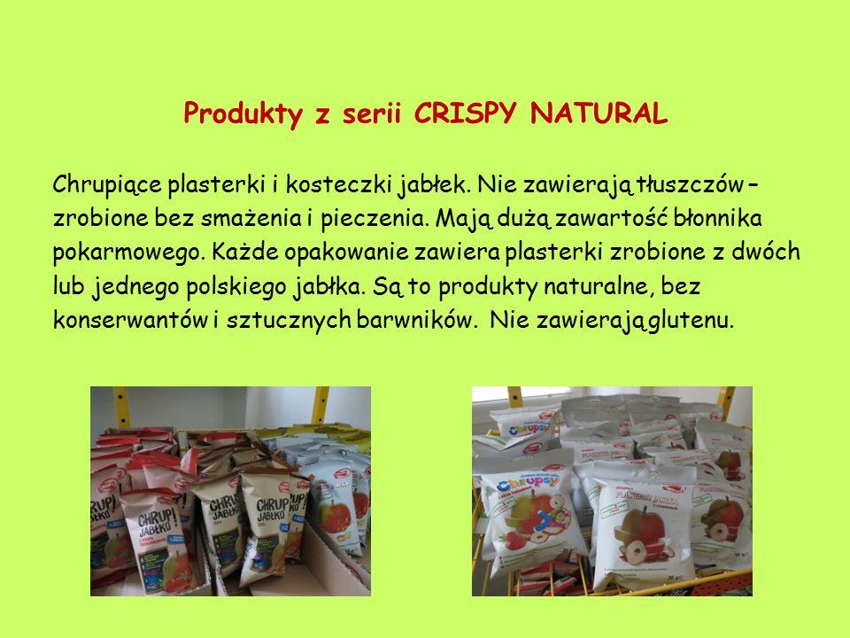 Produkty z serii CRISPY NATURAL Chrupiące plasterki i kosteczki jabłek. Nie zawierają tłuszczów – zrobione bez smażenia i pieczenia. Mają dużą zawarto