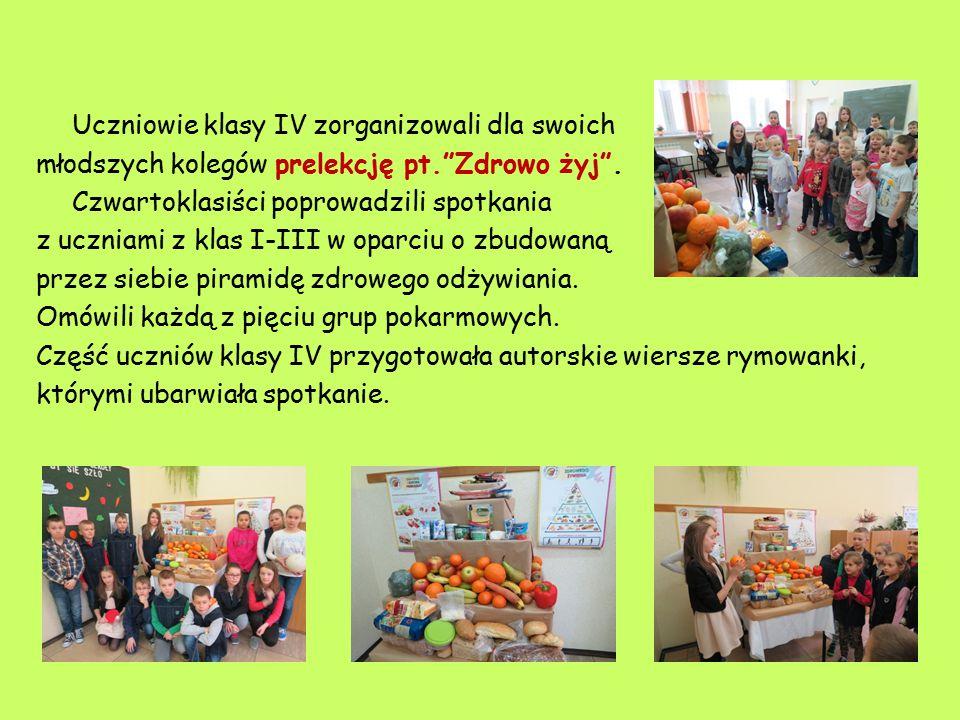 Uczniowie klasy IV zorganizowali dla swoich młodszych kolegów prelekcję pt. Zdrowo żyj .