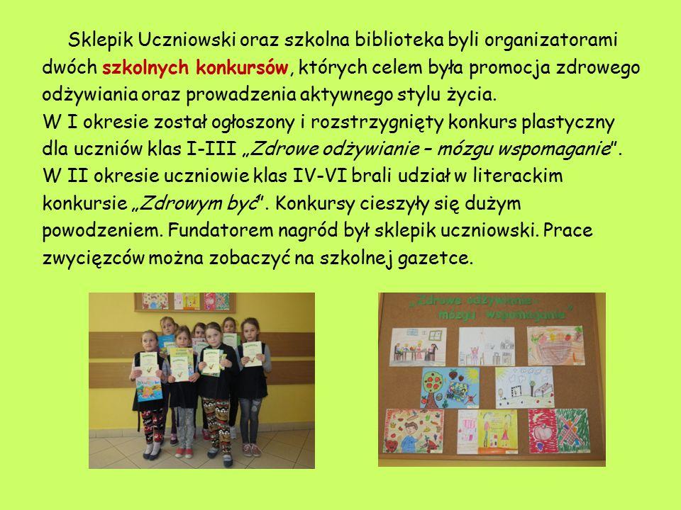 Sklepik Uczniowski oraz szkolna biblioteka byli organizatorami dwóch szkolnych konkursów, których celem była promocja zdrowego odżywiania oraz prowadz
