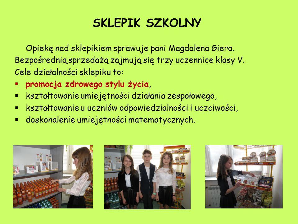 Opiekę nad sklepikiem sprawuje pani Magdalena Giera. Bezpośrednią sprzedażą zajmują się trzy uczennice klasy V. Cele działalności sklepiku to:  promo
