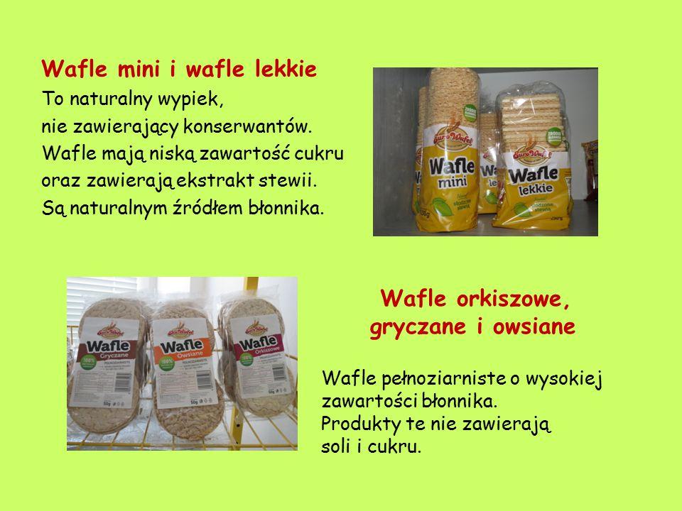 Wafle mini i wafle lekkie To naturalny wypiek, nie zawierający konserwantów. Wafle mają niską zawartość cukru oraz zawierają ekstrakt stewii. Są natur