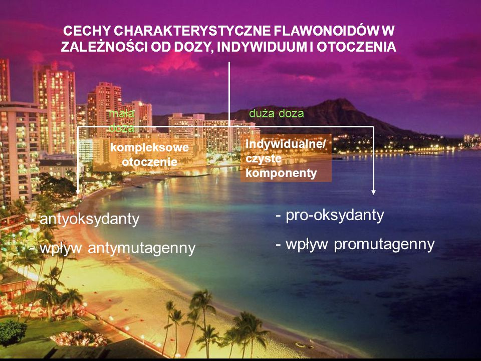 CECHY CHARAKTERYSTYCZNE FLAWONOIDÓW W ZALEŻNOŚCI OD DOZY, INDYWIDUUM I OTOCZENIA - antyoksydanty - wpływ antymutagenny - pro-oksydanty - wpływ promuta