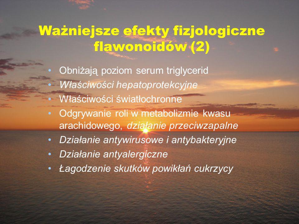 Ważniejsze efekty fizjologiczne flawonoidów (2) Obniżają poziom serum triglycerid Właściwości hepatoprotekcyjne Właściwości światłochronne Odgrywanie