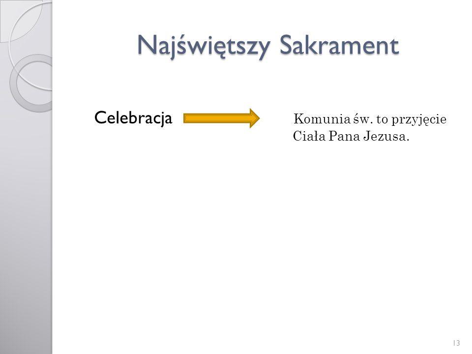 Najświętszy Sakrament Celebracja Komunia św. to przyjęcie Ciała Pana Jezusa. 13
