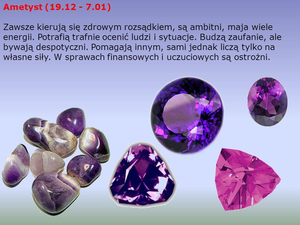 Ametyst (19.12 - 7.01) Zawsze kierują się zdrowym rozsądkiem, są ambitni, maja wiele energii.