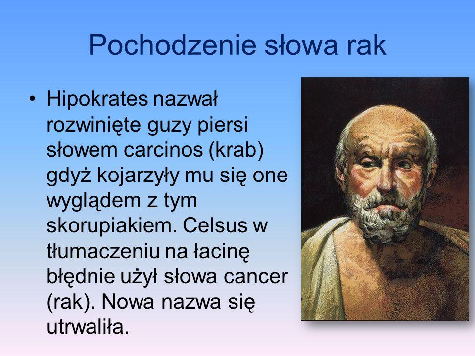 Pochodzenie słowa rak Hipokrates nazwał rozwinięte guzy piersi słowem carcinos (krab) gdyż kojarzyły mu się one wyglądem z tym skorupiakiem. Celsus w