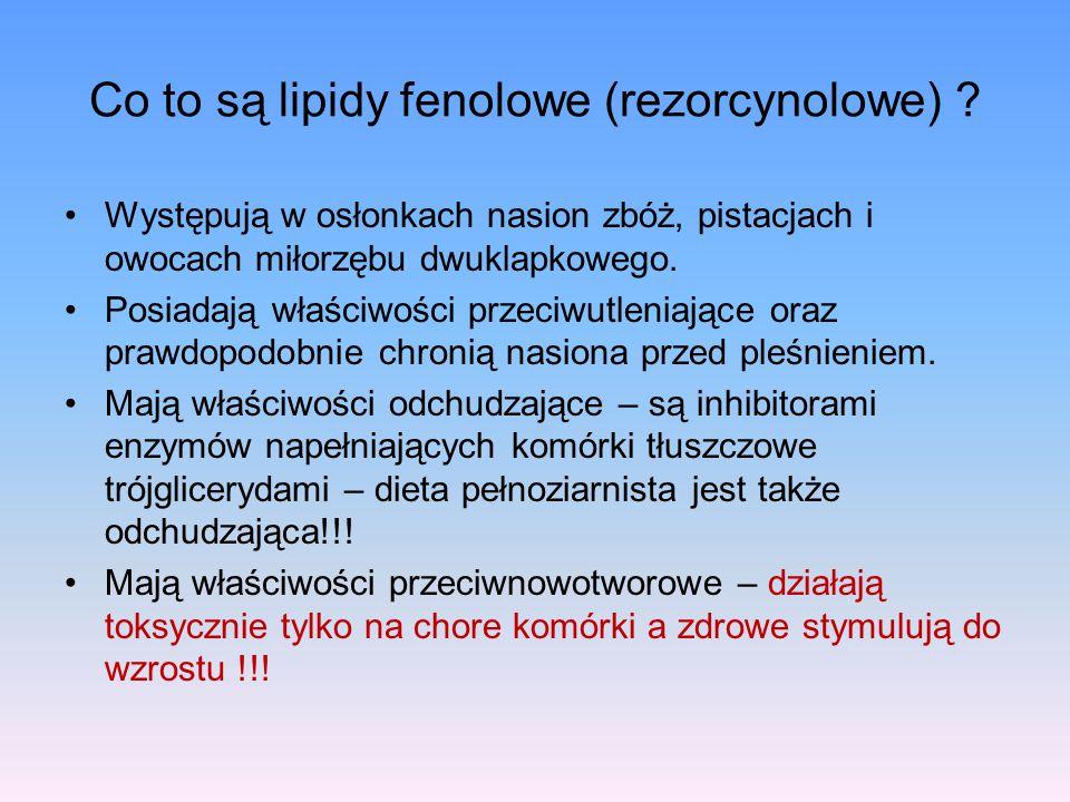 Co to są lipidy fenolowe (rezorcynolowe) ? Występują w osłonkach nasion zbóż, pistacjach i owocach miłorzębu dwuklapkowego. Posiadają właściwości prze