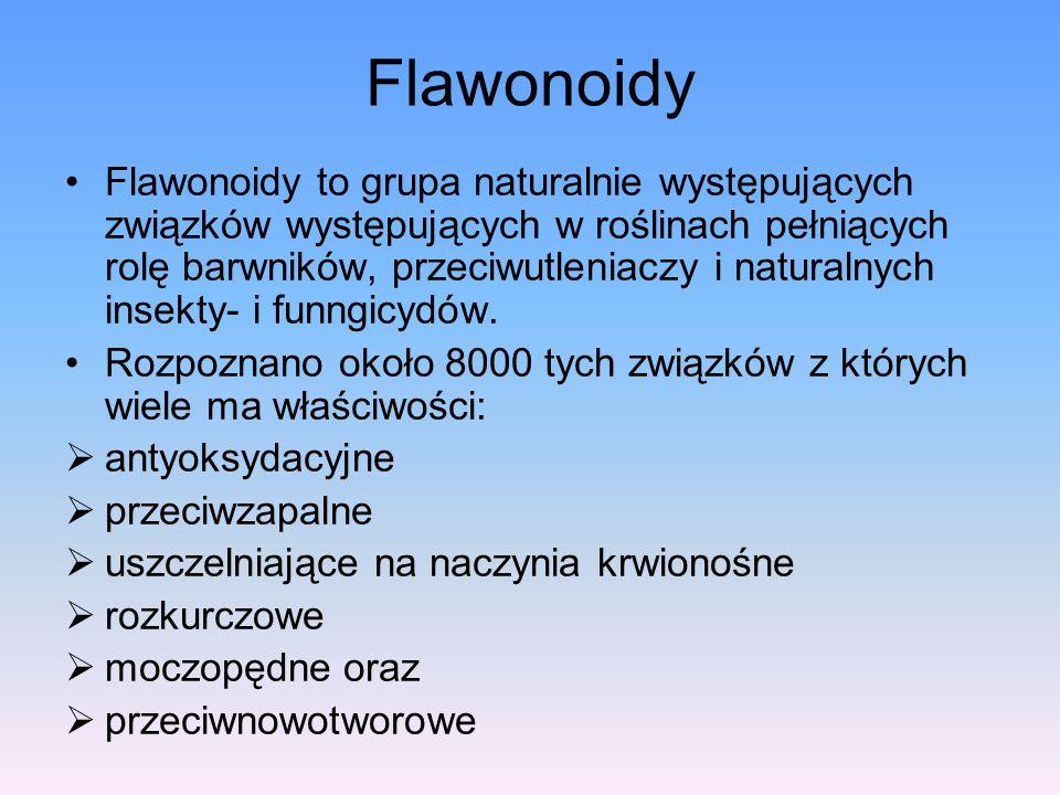 Flawonoidy Flawonoidy to grupa naturalnie występujących związków występujących w roślinach pełniących rolę barwników, przeciwutleniaczy i naturalnych