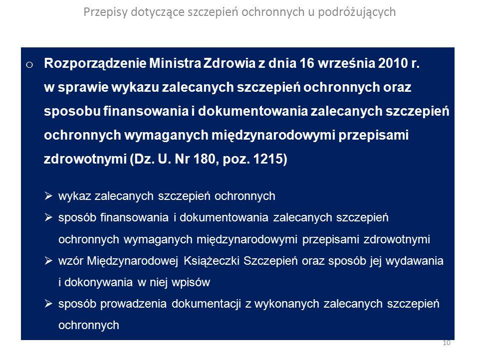 Przepisy dotyczące szczepień ochronnych u podróżujących o Rozporządzenie Ministra Zdrowia z dnia 16 września 2010 r.
