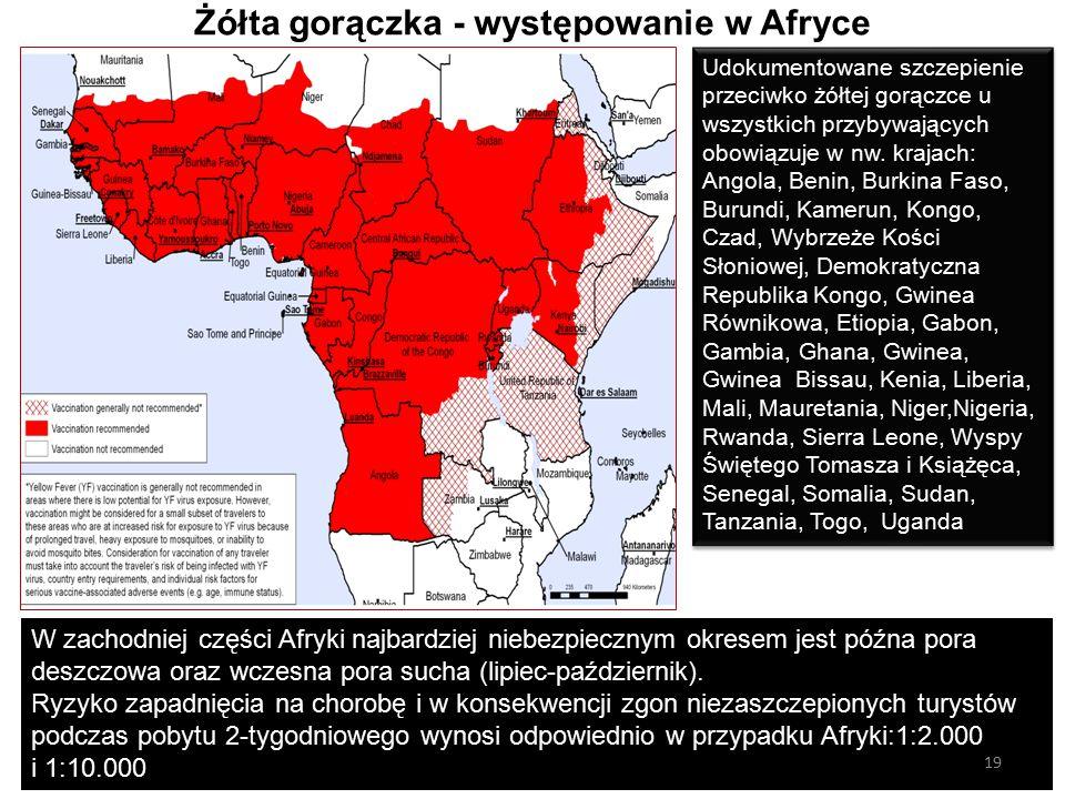 Żółta gorączka - występowanie w Afryce Udokumentowane szczepienie przeciwko żółtej gorączce u wszystkich przybywających obowiązuje w nw.